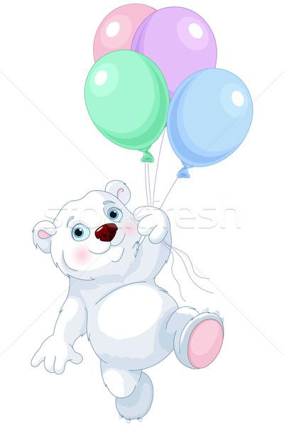 Jegesmedve repülés léggömbök aranyos buli születésnap Stock fotó © Dazdraperma