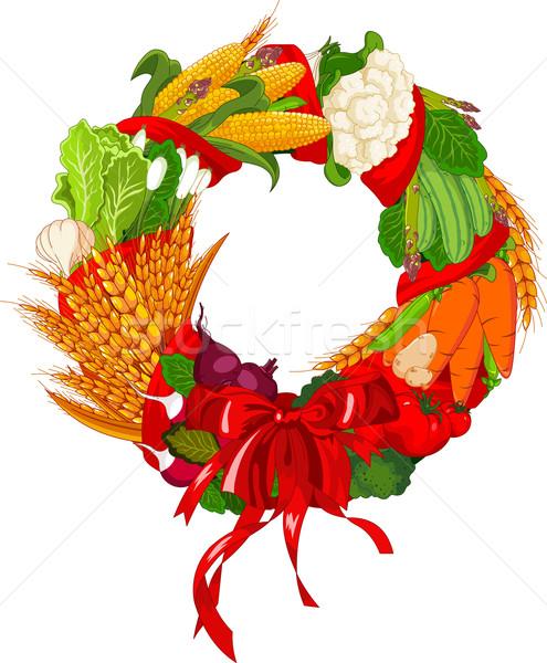 осень приветствую овощей дизайна двери знак Сток-фото © Dazdraperma