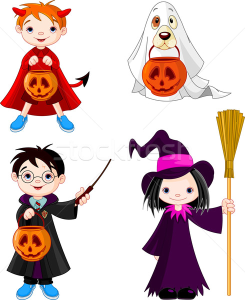 Halloween astuce enfants costumes fête Photo stock © Dazdraperma