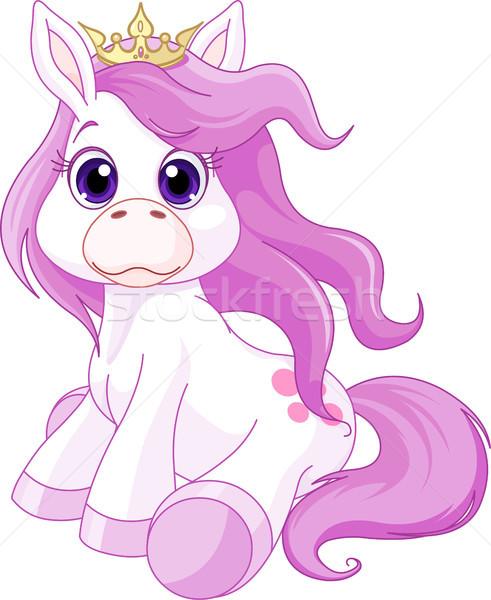 Cute paard prinses illustratie dier mustang Stockfoto © Dazdraperma