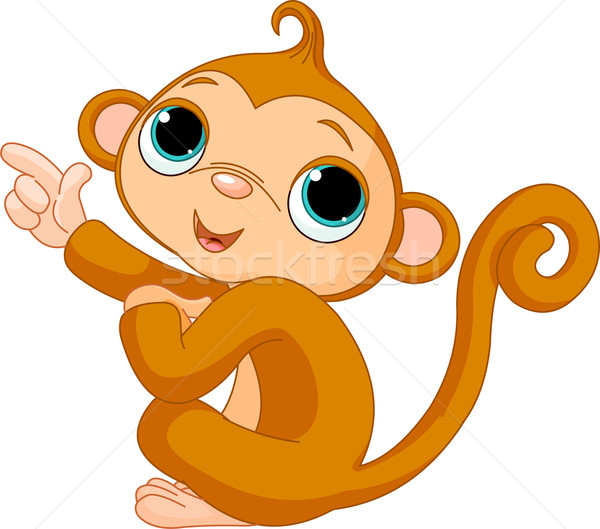 Pointant bébé singe illustration cute sourire Photo stock © Dazdraperma
