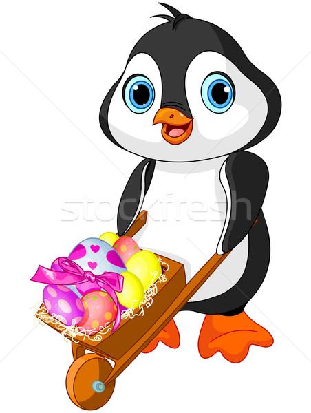 Pinguin Pasen kruiwagen vol eieren voorjaar Stockfoto © Dazdraperma