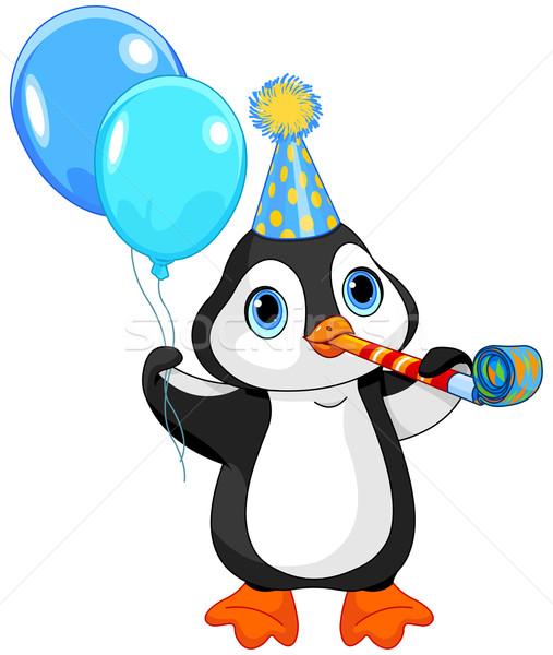 Pingouin anniversaire illustration cute célébrer oiseau Photo stock © Dazdraperma