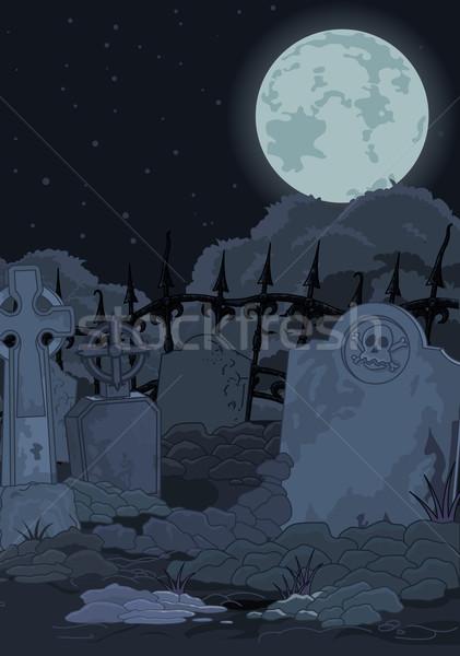 кладбище иллюстрация ночь Готский искусства смерти Сток-фото © Dazdraperma