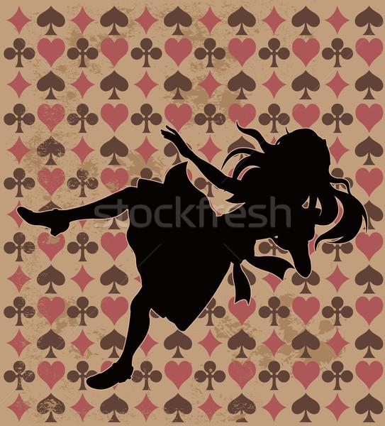 Caer silueta mundo maravilloso jugar tarjeta wallpaper Foto stock © Dazdraperma