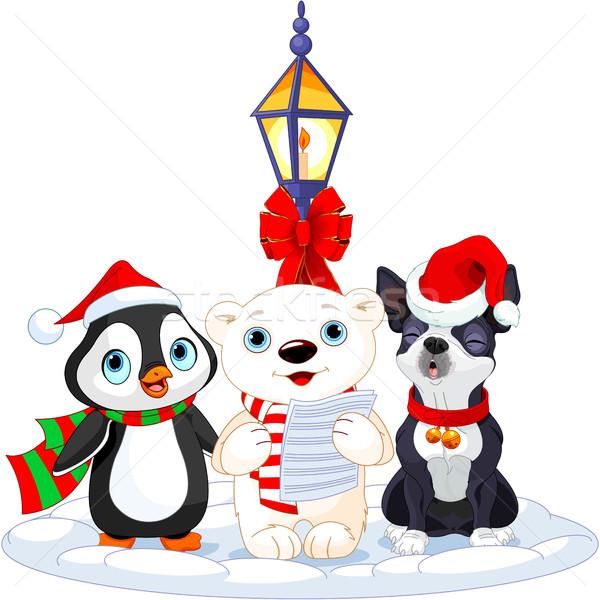 Navidad oso polar pingüino Boston terrier música Foto stock © Dazdraperma