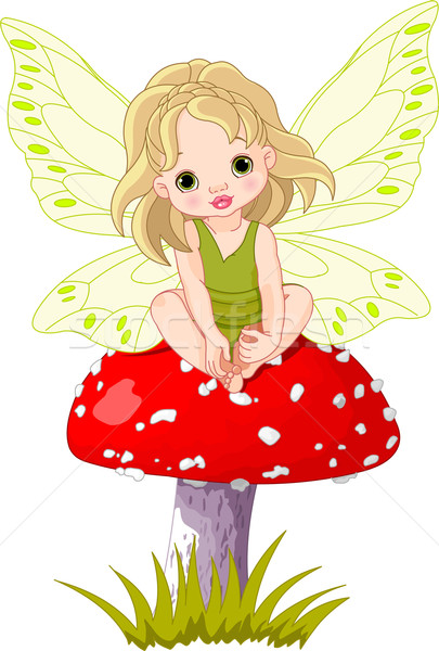 Baby Fairy on the Mushroom  Stock photo © Dazdraperma