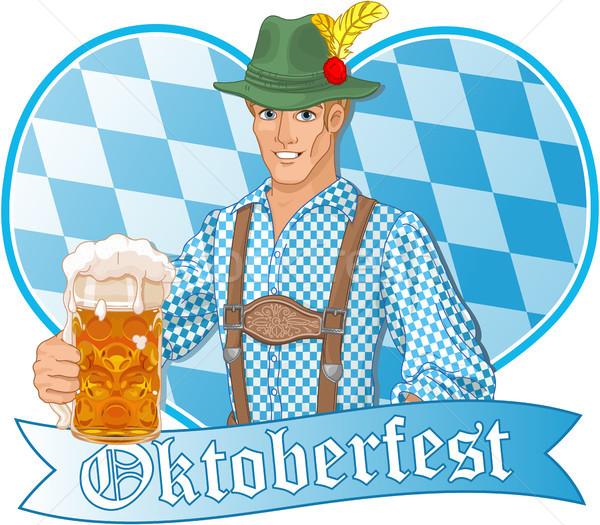 Oktoberfest fickó illusztráció ünnepel művészet férfiak Stock fotó © Dazdraperma