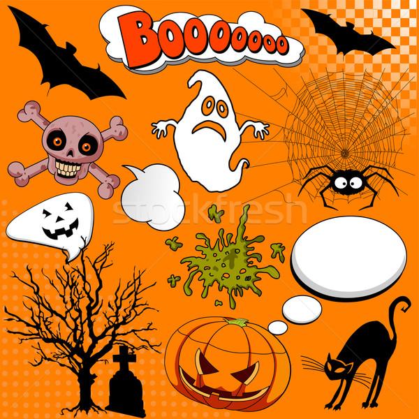 Stockfoto: Halloween · komische · communie · illustratie · boek · kat