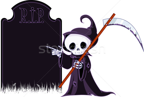 Cartoon grim reaper  pointing to tombstone Stock photo © Dazdraperma