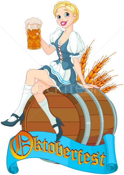 Oktoberfest girl on the keg  Stock photo © Dazdraperma