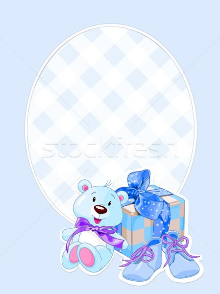 Baby jongen aankomst kaart illustratie geschenken Stockfoto © Dazdraperma