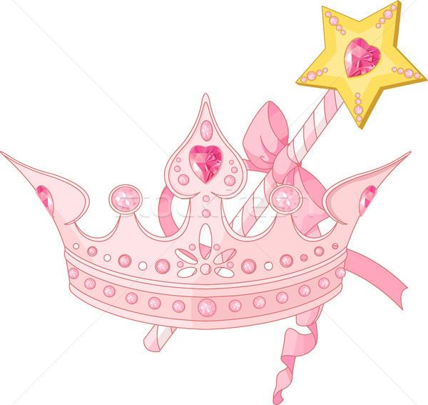 Princesa corona varita mágica hermosa cinta rosa Foto stock © Dazdraperma