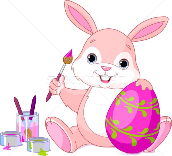 Bunny Painting Easter Egg Stock photo © Dazdraperma
