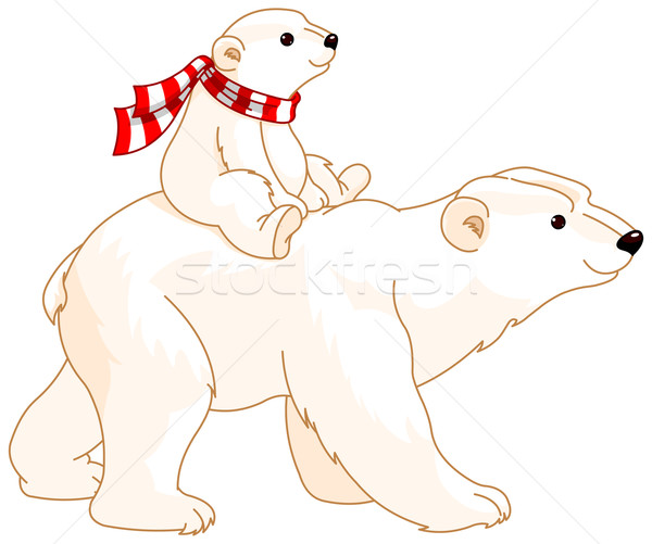 Stock photo: Polar Bear Mom and Baby