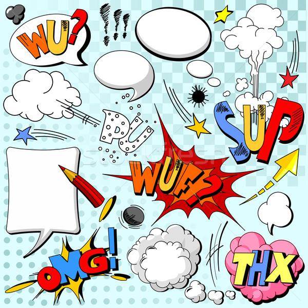 Explosie boek bubbels denk cartoon Stockfoto © Dazdraperma