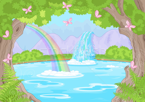 Fabelachtig waterval illustratie fairy landschap water Stockfoto © Dazdraperma
