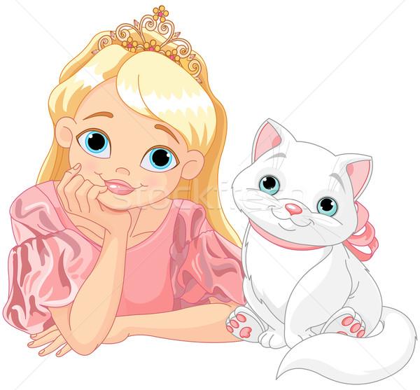 王女 猫 キス 白 愛 ストックフォト © Dazdraperma