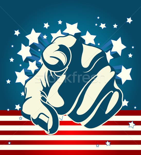 Amerikan işaret parmağı el arka plan imzalamak bayrak Stok fotoğraf © Dazdraperma