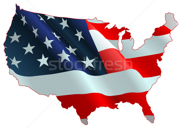 Amerikai zászló térkép terv Stock fotó © Dazdraperma