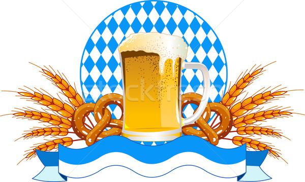 Oktoberfest celebración diseno cerveza trigo orejas Foto stock © Dazdraperma