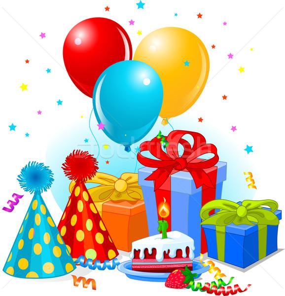 Stockfoto: Verjaardag · geschenken · decoratie · klaar · verjaardagsfeest · partij