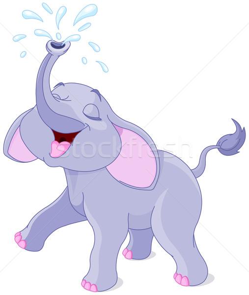 Baby olifant illustratie spelen water dieren Stockfoto © Dazdraperma