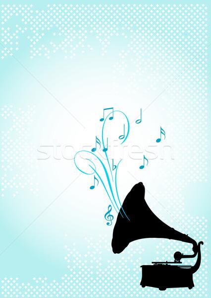 Gramofon dizayn soyut müzik siluet kartları Stok fotoğraf © Dazdraperma