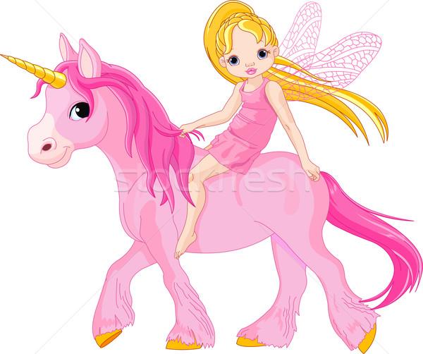 Fairy cute weinig paardrijden meisje dier Stockfoto © Dazdraperma