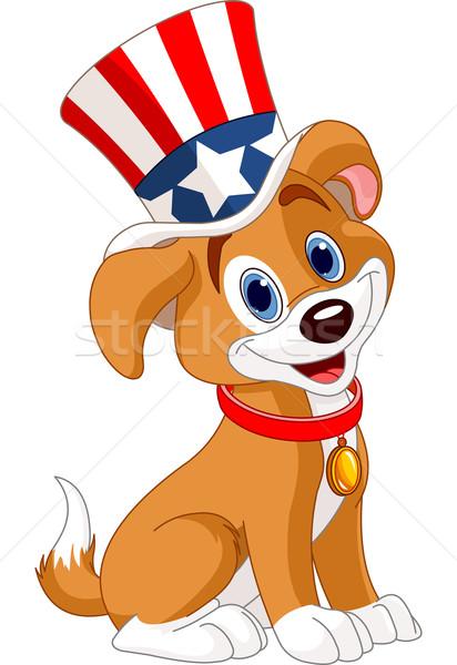 Dördüncü köpek yavrusu üst şapka köpek mavi Stok fotoğraf © Dazdraperma