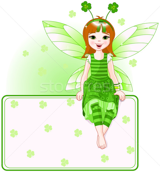 Little cute fairy place card for St. Patrick Day Stock photo © Dazdraperma