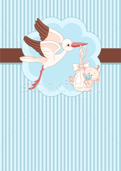 Ooievaar baby jongen plaats kaart pasgeboren Stockfoto © Dazdraperma