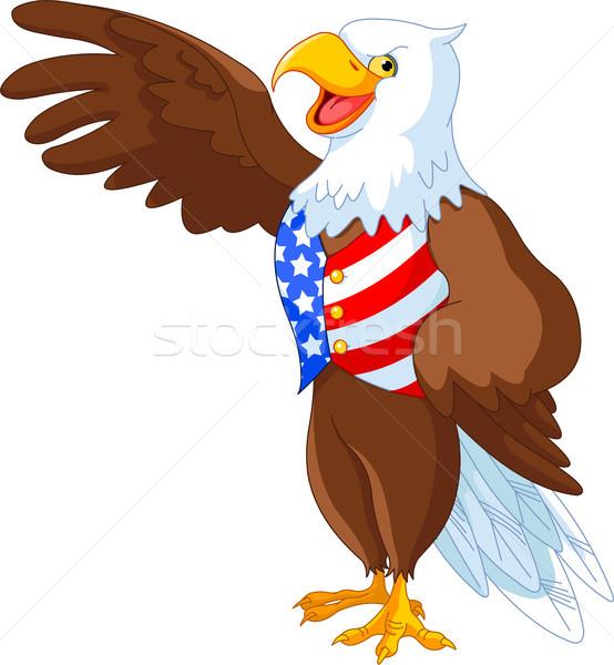 Vaderlandslievend amerikaanse adelaar kaal presenteren vogel Stockfoto © Dazdraperma