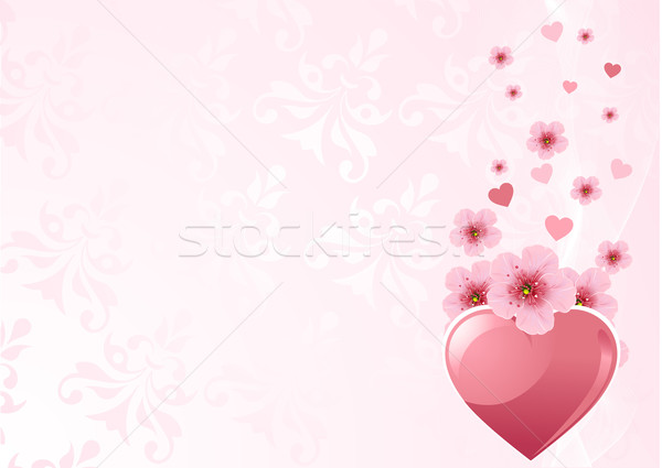 Sevmek kalp kiraz çiçeği pembe dizayn çiçek Stok fotoğraf © Dazdraperma