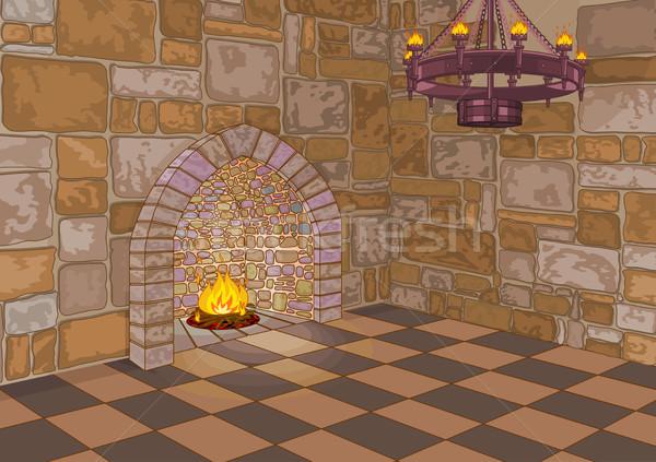 Castle Hall and Fireplace Stock photo © Dazdraperma