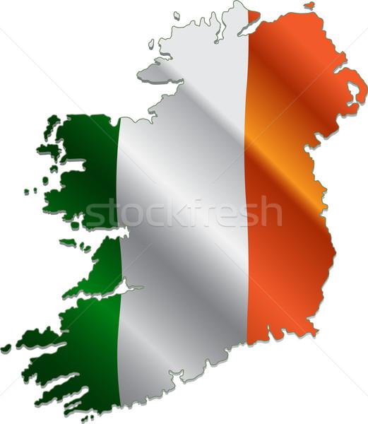 Ierland kaart vlag ontwerp kunst reizen Stockfoto © Dazdraperma