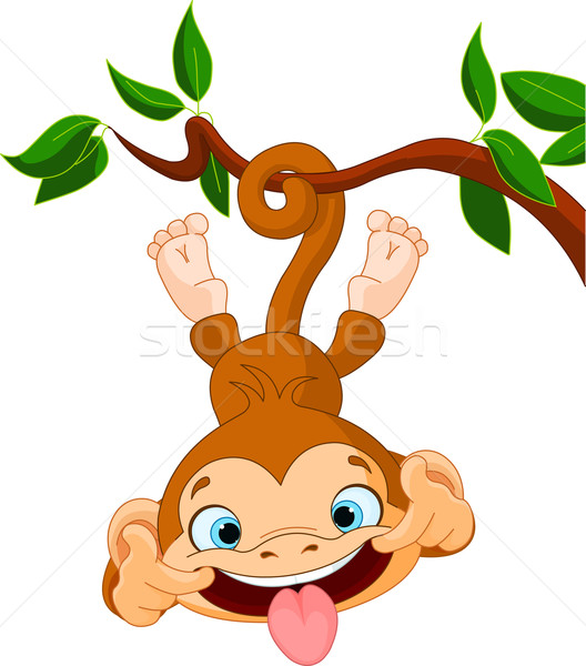 Singe cute bébé arbre parfait art Photo stock © Dazdraperma