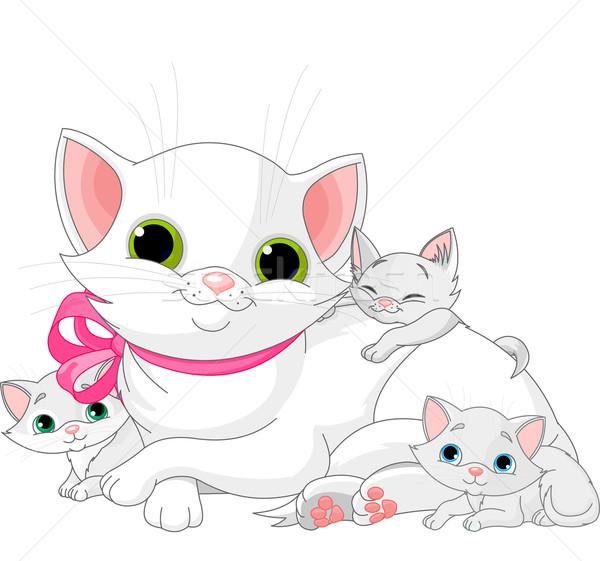 Witte katten familie illustratie moeder kittens Stockfoto © Dazdraperma