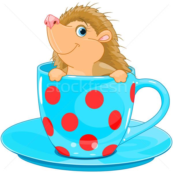 Sündisznó teáscsésze aranyos kicsi mosoly boldog Stock fotó © Dazdraperma