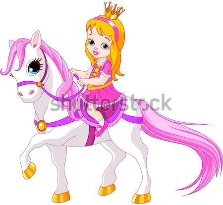 Сток-фото: красивой · русалка · верховая · езда · морем · лошади · иллюстрация