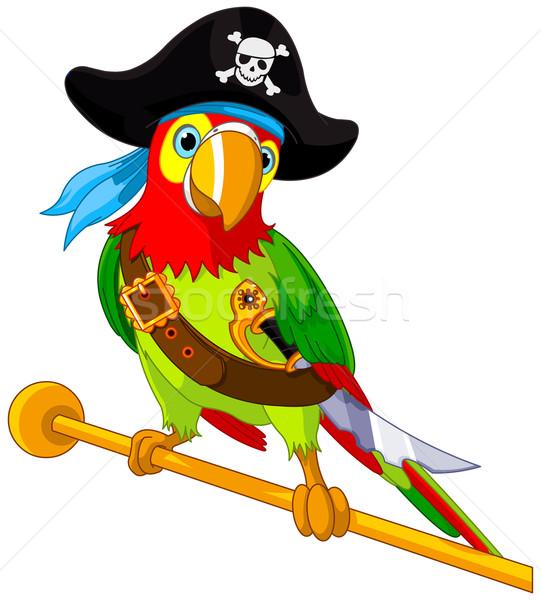 Pirata loro ilustración aves cráneo tropicales Foto stock © Dazdraperma