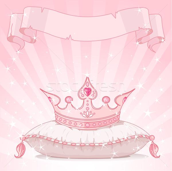 Prinses kroon roze kussen meisje Stockfoto © Dazdraperma