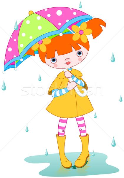 Girl under rain Stock photo © Dazdraperma