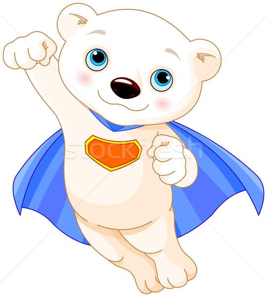 Szuper jegesmedve illusztráció szuperhős baba művészet Stock fotó © Dazdraperma