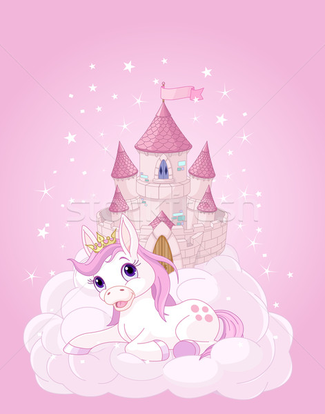Stockfoto: Hemel · kasteel · illustratie · roze · fairy · vlag