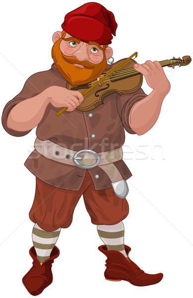 Dwerg spelen viool illustratie muziek glimlach Stockfoto © Dazdraperma