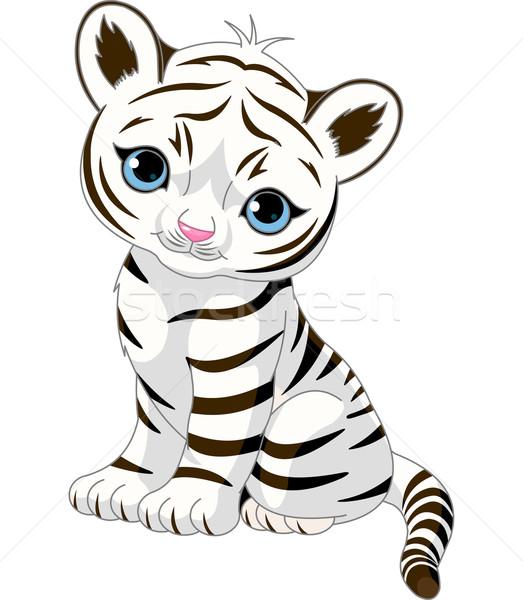 Cute blanche tigre personnage séance Photo stock © Dazdraperma