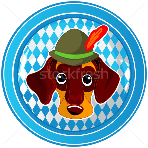 Oktoberfest circle dog button Stock photo © Dazdraperma