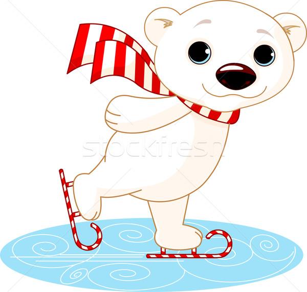 Polar bear on ice skates Stock photo © Dazdraperma