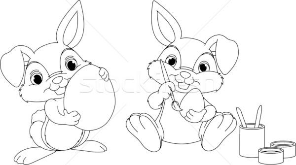 Easter Bunny Sayfa Boyama Yumurta Yumurta çalışma